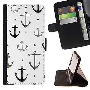"""For Samsung Galaxy J3(2016) J320F J320P J320M J320Y,S-type Ancla del barco de capitán blanco limpio"""" - Dibujo PU billetera de cuero Funda Case Caso de la piel de la bolsa protectora"""