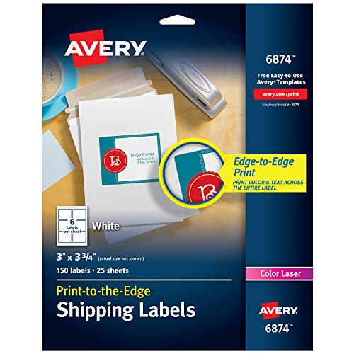 - Avery White Laser Labels for Color Printing, 3 x 3-3/4 Label, 150 per Pack (6874)