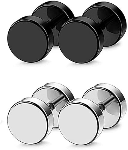 3 Pair Stainless Steel Stud Earrings Set Ear Piercing Plugs Tunnel Punk Style 6mm A+