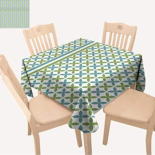 UHOO2018 Square/Rectangle Polyester Table Cloth Overlapping Chain Mail Circle Pattern with Modular Geometric tessellating Round Shapes Easy Care Spillproof,50x 50inch