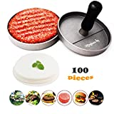 4. Meykers Burger Press 100 Patty Papers Set - Non-Stick Hamburger Press Patty Maker Mold with Wax Patty Paper Sheets Meat Beef Pork Lamb Cheese Halal Nut Veg Veggie Burger Maker for BBQ Barbecue Grill