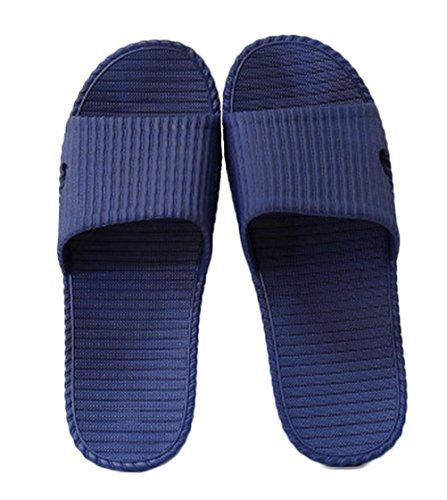 Nanxson(TM) Unisex PVC Solid Color Bathroom Anti Skid Slippers TX0015 (US men 8, dark blue) (Kids Hobbit Feet)