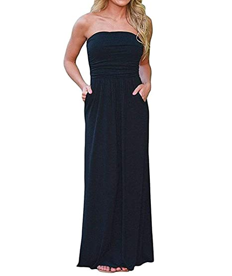 b5aab79bf21 Royalreal Women s Tube Maxi Dress Strapless Plus Size Top Long Skirt Beach Sundress  Cover up at Amazon Women s Clothing store