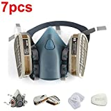 Vapor Mask Safety Mask 3M 7502 / 6200 Respirator Half Face Gas Mask Painted Activated Carbon Mask Against Organic Vapors Gas Cartridges 7 Items for 1 Set (7502)