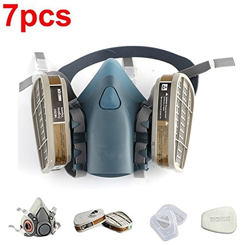 RONGT Safety Mask 3M 7502 / 6200 Respirator Half Face Gas Mask Painted Activated Carbon Mask Against Organic Vapors Gas Cartridges 7 Items for 1 Set (7502) (Gas Vapor)