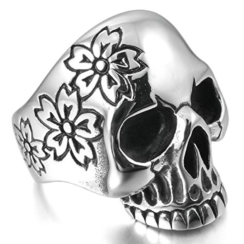 Aooaz Stainless Steel Rings For Men Flower Handmade Bands Silver Black Skull Size 8 Free Engraving