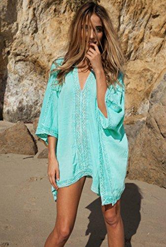 HALT Womens Oversized Beach Cover up Swimsuit Dress (Blue) by HALT (Image #2)