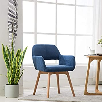 Lansen Furniture Set of 2 Modern Living Dining Room Accent Arm Chairs Club Guest with Solid Wood Legs Blue