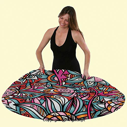 - Fitted Elastic No-Slip Fit Table Cover Colorful Abstract Florals Sunflower Mosaic Curl Ornaments Stained Glass Tablecloths for Round Tables,