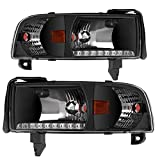 headlights for 1998 dodge - AUTOSAVER88 For 94 95 96 97 98 99 00 01 Dodge Ram 1500/2500/3500 02 Dodge Ram 2500/3500 Headlight Assembly,OE DRL Projector Headlamp,Black housing,One-Year Limited Warranty(Pair)