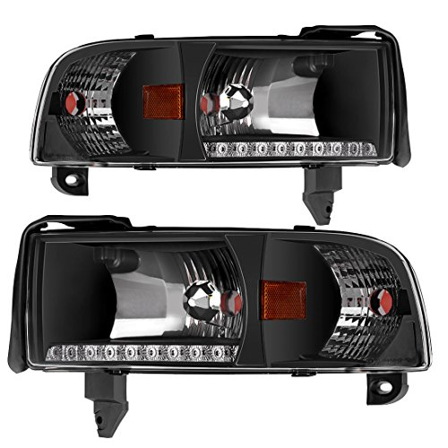 ght Assembly for 94-01 Dodge Ram 1500/94-02 Dodge Ram 2500 3500 Pickup Replacement Headlamp, Black Housing with Corner Lamps, One-Year Limited Warranty (Passenger And Driver) (Dodge Ram 1500 Headlamp)