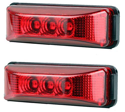 2pcs 3.9 inches 3 Leds Truck Trailer 12V Led Front Rear LED Side Marker Lights Indicator Lamp Rock Light for Truck Trailer Boats,Sealed and Waterproof, Surface Mounted Installation, 2 Red ()