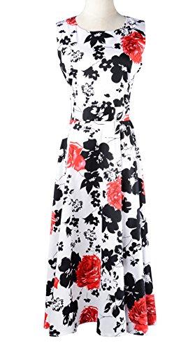 Eyekepper vestido de epoca de los años 50 impreso florado rockabilly oscilacion Rojo
