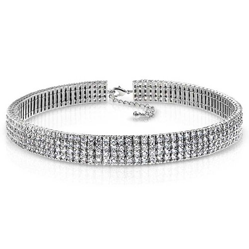 Bling Jewelry Stacked CZ Bridal Choker Rhodium Plated Necklace 16 Inches by Bling Jewelry