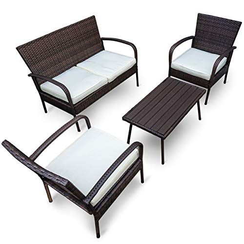 Pamapic Outdoor 4Piece Patio Furniture Sets 【PS Board Table】, Brown Embossing PE Rattan Wicker Sofa and Chairs Set with Coffee Table【Beige Cushion】