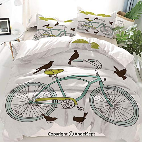 (Homenon Bicycle Decor Duvet Cover Set King Size,I Love My Bike Concept with Birds on The Seat Cruisers Basic Vehicle Simplistic Art,Decorative 3 Piece Bedding Set with 2 Pillow Shams)