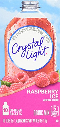 Crystal Light Drink Mix, Raspberry Ice, On The Go Packets, 10 Count (Pack of 6 Boxes) Crystal Single