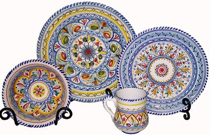 - Hand-Painted Ceramic Plates from Spain. Multicolor Pattern