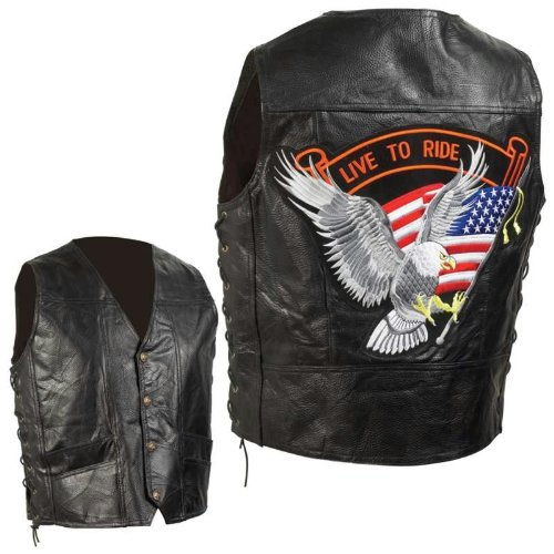 Diamond Plate Hand-sewn Pebble Grain Genuine Leather Biker Vest- 2x Diamond Plate Motorcycle Jacket