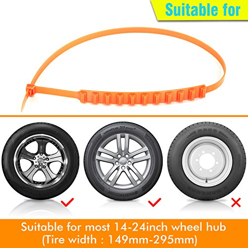 GAMPRO Anti-skid Chains 10 Pcs, Portable Emergency Traction Aid Anti-slip Snow Mud Sand Tire Chains Most Car SUV Van ATV etc. Comes Free Shovel Gloves(10 Pcs) by GAMPRO (Image #3)