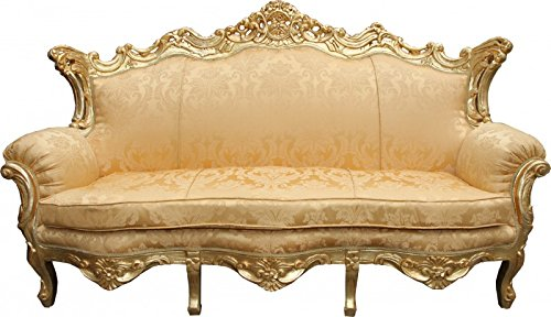 Casa Padrino Barock Sofa Master Gold Flowers Muster / Gold - Wohnzimmer Couch Möbel Lounge