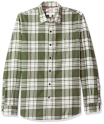 Goodthreads Men's Slim-Fit Long-Sleeve Brushed Flannel Shirt, -olive plaid, Large ()