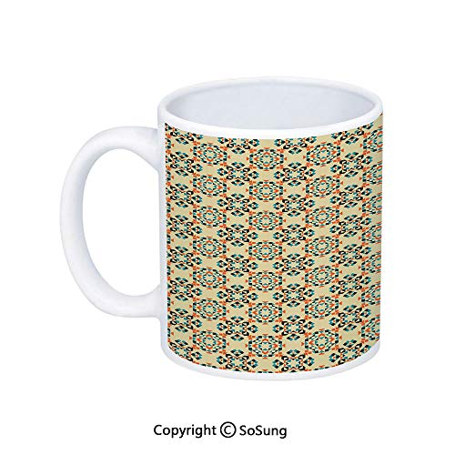 Geometric Coffee Mug,Ethnic Tribal Pattern with Boho Aztec Native American Folk Figures Decorative,Printed Ceramic Coffee Cup Water Tea Drinks Cup,Eggshell Vermilion Blue
