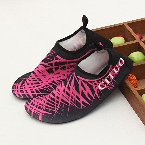 EQUICK Damen Wasserschuhe Quick-Dry Verschnaufpause Sport Skin Schuhe Barfuß Rutschfeste Multifunktionssocken Yoga Übung 3red