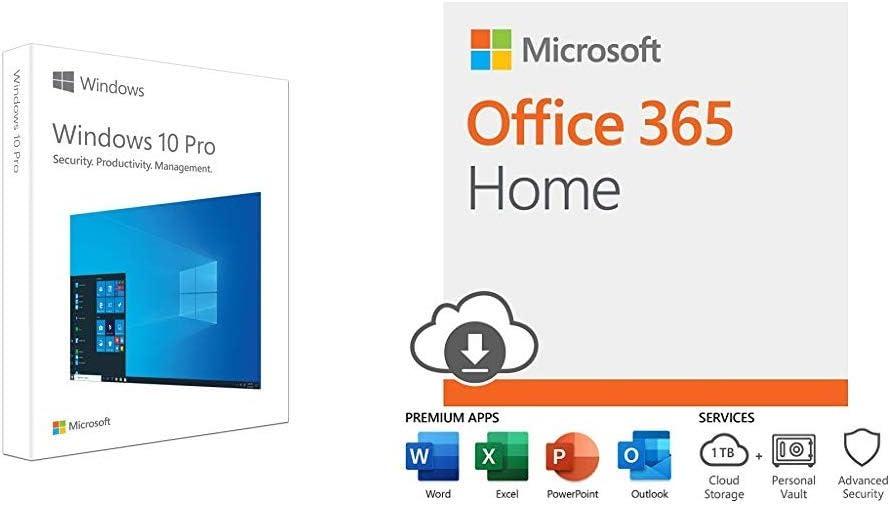 Microsoft Windows 10 Pro | USB Flash Drive + Microsoft Office 365 Home with Auto-Renew