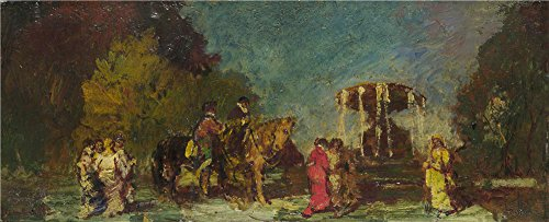 'Adolphe Monticelli Fountain In A Park ' Oil Painting, 18 X 44 Inch / 46 X 113 Cm ,printed On Polyster Canvas ,this High Quality Art Decorative Canvas Prints Is Perfectly Suitalbe For Gym Decoration And Home Decoration And Gifts