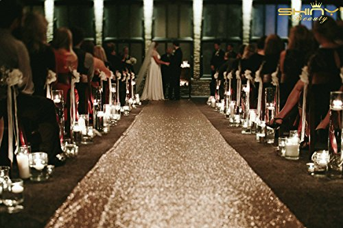 ShinyBeauty Champagne-Aisle Runner Wedding-40FTX4FT,Sequin Aisle Runner Fabric,Marriage Ceremony Carpet Indoor Outdoor (Champagne) by ShinyBeauty (Image #6)