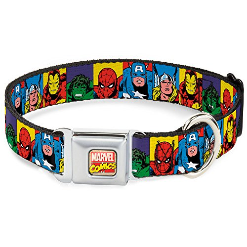 "Buckle Down Seatbelt Buckle Dog Collar - Marvel Superhero Blocks Multi Color - 1"" Wide - Fits 9-15 Neck - Small"