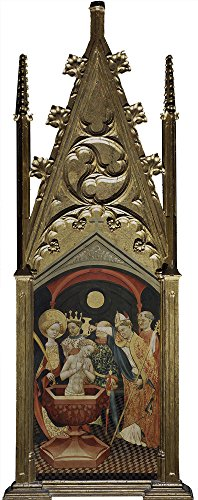 Taupe Electric Wall Sconce (Oil Painting 'Anonymous 1425 50 Bautismo De Conan En Presencia De Santa Ursula Y Su Padre' 20 x 51 inch / 51 x 128 cm , on High Definition HD canvas prints is for Gifts And Bar, Hallway And Ho decor)