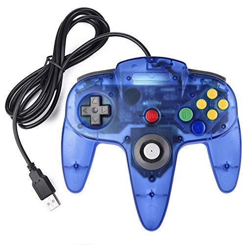 Classic USB Controller N64 Bit USB PC Wired Game Pad Controllers, USB Retro N64 Gamepad Joystick Joypad for Windows PC MAC Linux Raspberry Pi 3 (Clear Blue) (Ps4 Remote Play Windows 7 32 Bit)
