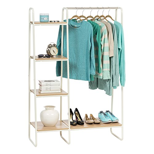 Iris Usa Metal Garment Rack With Wood Shelves White And Light Brown Pi B3