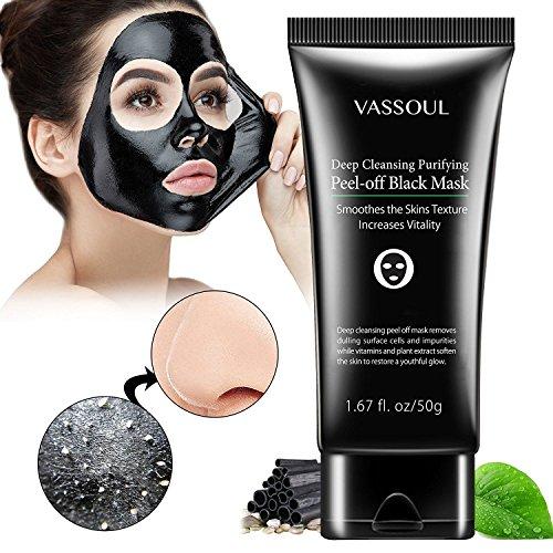 Vassoul Blackhead Remover Mask, Peel Off Blackhead Mask, Blackhead Remover - Deep Cleansing Black Mask, Bamboo Activated Charcoal Peel-Off Mask (Deep Peel)