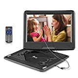 DR.Q 12.1 Inch Portable DVD Player with 6000mAh Rechargeable Battery, 270 Degree HD Swivel Screen, Remote Control, 5.9ft Car Charger, SD Card Slot, USB Port and Multiple Disc Formats Supported-Black