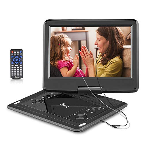 DR.Q 12.1 Inch Portable DVD Player with 6000mAh Rechargeable Battery, 270 Degree HD Swivel Screen, 5.9ft Car Charger, SD Card Slot, USB Port and Multiple Disc Formats Supported, 2x Earbuds Included
