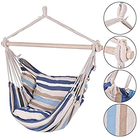 Deluxe Hammock Rope Chair Porch Yard Tree Hanging Air Swing Outdoor (Bench Cushion Indoor 40 Inch)