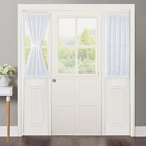 NICETOWN Linen Textured Door Curtain - White Sidelight Panel Curtain Semi Sheer French Door Curtain Front Door Tieback, 30