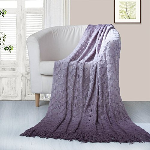 Chic Home Andie Ombre' Knitted and Mercerized Yarn Dye Throw Blanket with Tassel Like Fringes, 50 x 60