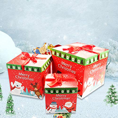 IFOYO Boxes with Lids, 3 Pack Christmas Nested Boxes Set Cute Santa Claus Bags Square Gift Boxes for Candy, Treats, Clothes, Presents, 3 Assorted Sizes, 5.9/7.9/9.8in -