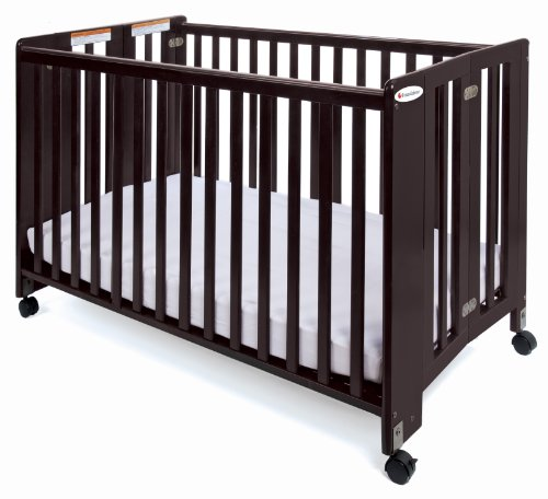 Foundations Full Size HideAway Nursery Folding Fixed Side Crib, (Elegant Cherry Wood Finish Series)