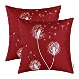 Pack of 2 CaliTime Canvas Throw Pillow Covers Cases for Couch Sofa Home Decor, Dandelion Print, 18 X 18 Inches, Burgundy