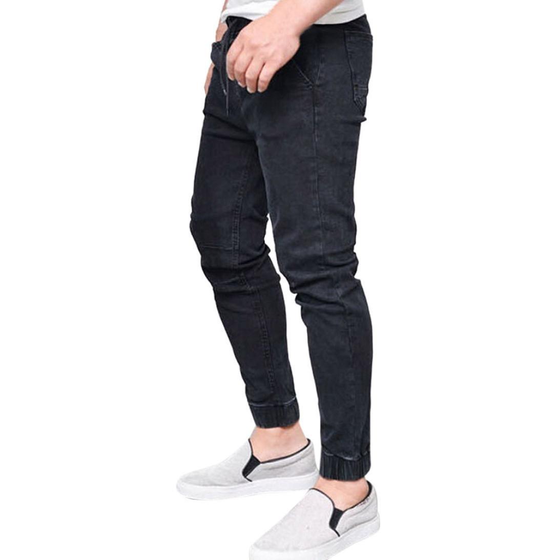 AMSKY❤ Men Trouser, Fashion Slim Biker Hiphop Basic Denim Jeans Skinny Fitness Elastic Stretchy Long Pants (L, Black) by AMSKY (Image #1)