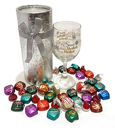 Christmas Gifts! Christmas Wine Glass - Christmas Beer Glass - WITH Premium Chocolate Treats - Christmas Gift For Adults! (Stemmed Wine Glass with Chocolates - Let it Snow, Drink Merlot!)