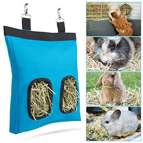 Geegoods Rabbit Hay Feeder Bag, Guinea Pig Hay Feeder Storage ,Hanging Feeding Hay for Small Animals Larege Size 600D Oxford Cloth Fabric