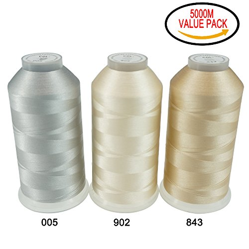 ptions- Various Assorted Color Packs of Polyester Embroidery Machine Thread Huge Spool 5000M for All Embroidery Machines - NEUTRAL COLORS (Neutral Colour)