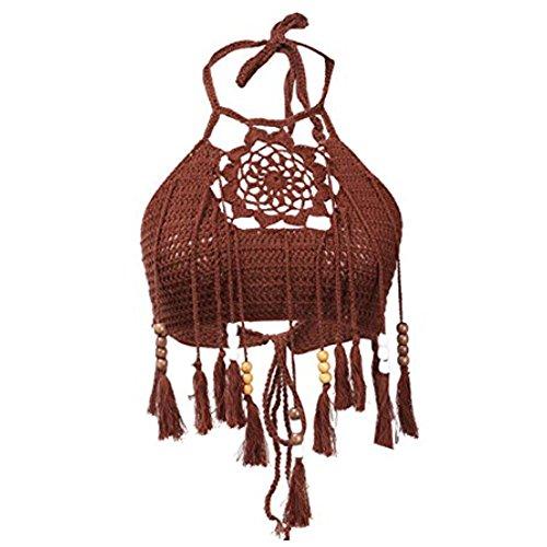 Popbop WANGSCANIS Lady Women's Sexy Hollow Out Crochet Knit Halter Flower Embroidered Tassel Bikini Tops Crop Tank Cami Swimwear - Crochet Clothing