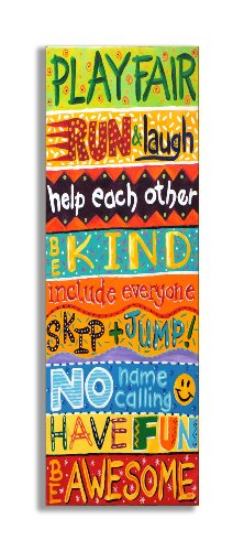 The Kids Room by Stupell Colorful Play Fair, Run and Laugh Typography Wall Plaque